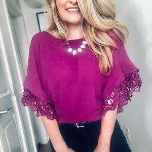 Tops - Dana Crochet Trim Top - Fuchsia